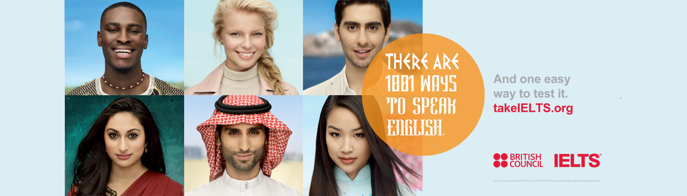 'There are 1001 ways to learn English' banner with photos of people from around the world